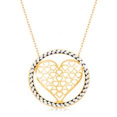 Zlatý náhrdelník 375 - řetízek z oválných oček, vyřezávané srdce v kruhu GG194.33
