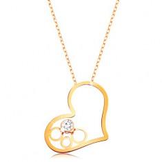 Zlatý 9K náhrdelník - tenký řetízek, kontura srdce s kruhy a čirým zirkonem GG194.32
