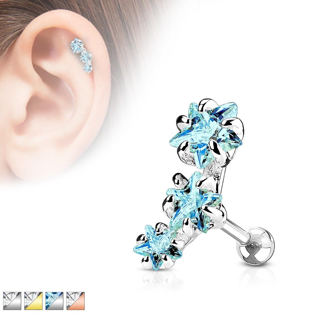 Ocelový piercing do tragu ucha, oblouk ze tří zirkonových hvězdiček - Barva zirkonu: Aqua modrá - Q