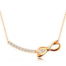 Zlatý náhrdelník 375 - řetízek z oválných oček, zirkonový oblouk a lesklá mašlička
