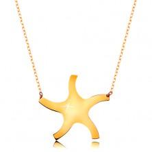 Náhrdelník ve žlutém 9K zlatě - lesklé hladké sluníčko, tenký blýskavý řetízek
