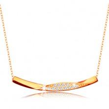 Zlatý 9K náhrdelník - řetízek z oválných oček, lesklá zahnutá linie se zirkonky