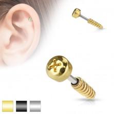 Ocelový piercing do tragu ucha - imitace šroubu, různé barvy