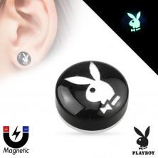Akrylový magnetický fake plug - černý kruh s obrázkem zajíčka Playboy