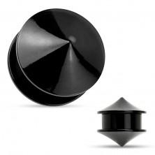 Plug do ucha, akryl černé barvy, dva lesklé hladké kužely