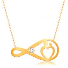 Zlatý náhrdelník 375 - jemný řetízek, symbol nekonečna s čirým zirkonem a srdcem