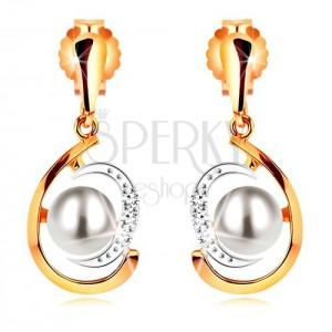 Zlaté náušnice 585, dvoubarevná asymetrická slza, bílá perla, zirkony
