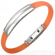 Plochý gumový náramek - známka, oranžový