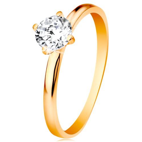 Levně Zásnubní prsten ve žlutém 14K zlatě - hladká ramena, zářivý kulatý zirkon čiré barvy - Velikost: 51