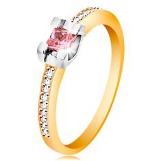 Zlatý 14K prsten - třpytivá ramena, kulatý růžový zirkon v kotlíku z bílého zlata GG189.28/35 Šperky eshop