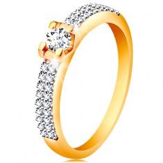 Zlatý 14K prsten - třpytivá ramena, kulatý čirý zirkon v hranatém kotlíku GG197.07/14 Šperky eshop
