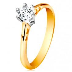 Zlatý 14K prsten - kulaté výřezy na ramenech, čirý zirkon v kotlíku z bílého zlata GG197.22/28 Šperky eshop