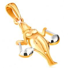 Přívěsek ve 14K zlatě - lesklý dvoubarevný symbol zvěrokruhu - VÁHY GG195.22