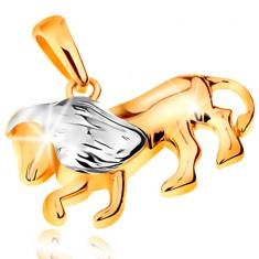 Dvoubarevný zlatý přívěsek 585 - symbol znamení zvěrokruhu - LEV GG195.20