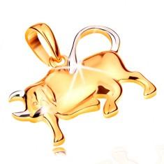 Přívěsek ve 14K zlatě - lesklý dvoubarevný symbol zvěrokruhu - BÝK GG195.17