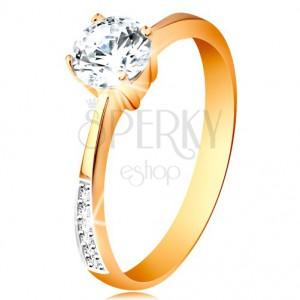Prsten ze 14K zlata - zúžená ramena se zirkonovými liniemi, čirý zirkon v kotlíku