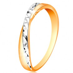 Dvoubarevný prsten ve zlatě 585 - rozdělená ramena, drobné blýskavé rýhy