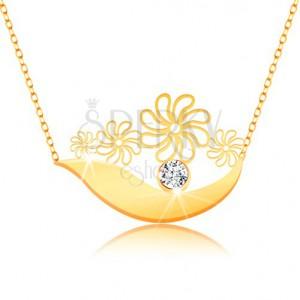 Náhrdelník ze žlutého 9K zlata - širší oblouk, kvítky, čirý zirkon a jemný řetízek