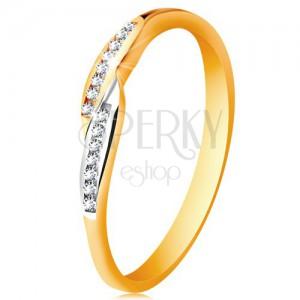 Prsten ve 14K zlatě, rozšířené dvoubarevné konce ramen se vsazenými zirkony