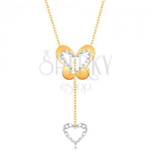 Zlatý 9K náhrdelník - motýl s výřezem a visící konturou srdíčka na řetízku