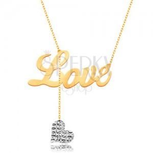 Náhrdelník v 9K zlatě - nápis Love, visící srdíčko z bílého zlata na řetízku