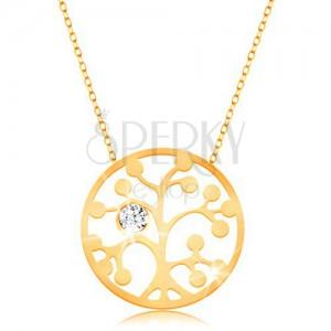 Zlatý náhrdelník 375 - kruh s vyřezávaným stromem a čirým zirkonkem