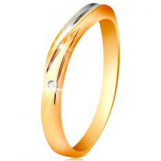 Dvoubarevný prsten ze zlata 585 - vlnka z bílého zlata, drobný čirý zirkon