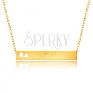 Náhrdelník ze žlutého 9K zlata - lesklý obdélník, srdíčka, jemný řetízek
