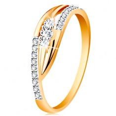 Zlatý prsten 585 - lesklá zahnutá ramena, třpytivé pásy a tři zirkony