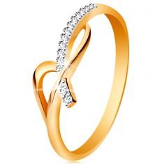 Prsten ve 14K zlatě - asymetricky propletená ramena, kulaté čiré zirkony GG189.73/79
