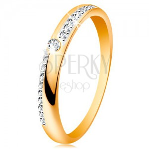 Prsten ze zlata 585 - úzké linie z čirých blýskavých zirkonků, lesklá ramena, zirkon