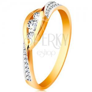 Zlatý 14K prsten - lesklé zahnuté konce ramen, tři zirkony a třpytivé pásy