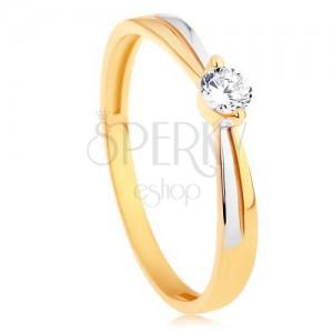 Prsten ve 14K zlatě - dvoubarevná ramena, kulatý zářivý zirkon čiré barvy
