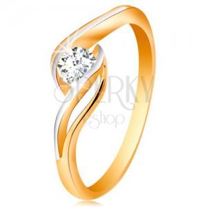 Zlatý prsten 585 - čirý zirkon, dvoubarevná, rozdělená a zvlněná ramena