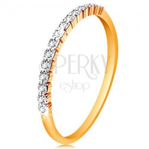 Zlatý 14K prsten - pás třpytivých čirých zirkonků, lesklá ramena