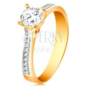 Prsten ze 14K zlata - blýskavý kulatý zirkon čiré barvy, zirkonová ramena
