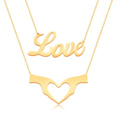 Náhrdelník ze žlutého 9K zlata - dvojitý řetízek, nápis Love a srdce ze dvou rukou