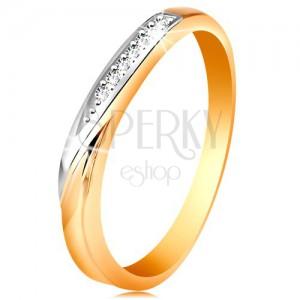 Dvoubarevný zlatý prsten 585 - vlnka z bílého zlata a drobných čirých zirkonů