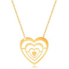 Zlatý náhrdelník 375 - tenký řetízek a přívěsek - zmenšující se kontury srdcí GG194.10