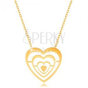 Zlatý náhrdelník 375 - tenký řetízek a přívěsek - zmenšující se kontury srdcí