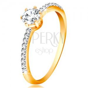 Prsten ve žlutém 14K zlatě - třpytivý čirý zirkon v kotlíku, zirkonová ramena