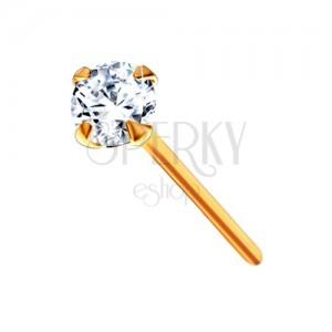 Zlatý 375 piercing do nosu - kulatý zářivý zirkon čiré barvy, 2 mm