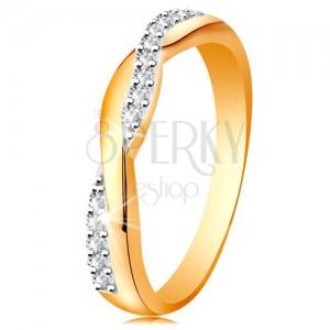 Lesklý prsten ze 14K zlata - dvě propletené vlnky - hladká a zirkonová