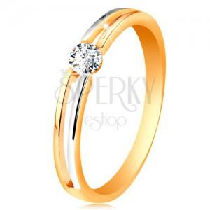 Zlatý prsten 585, tenká dvoubarevná ramena s výřezem a čirým zirkonem