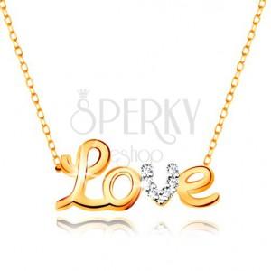Náhrdelník v 9K zlatě - dvoubarevný nápis Love, zirkony, blýskavý tenký řetízek