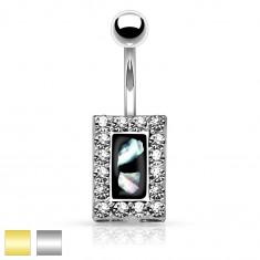 Ocelový piercing do bříška, černý obdélník s kousky perleti, zirkonový lem