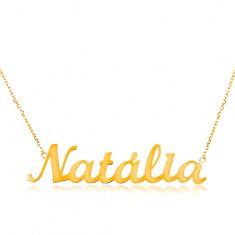 Zlatý 14K náhrdelník - tenký řetízek z oválných oček, lesklý přívěsek Natália GG198.19