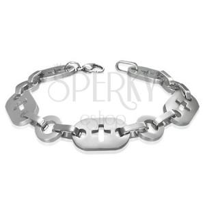 Ocelový náramek - kroužky, křížky