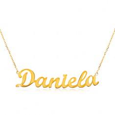 Náhrdelník ze žlutého 14K zlata - tenký řetízek, lesklý přívěsek - jméno Daniela GG198.08