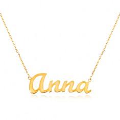 Zlatý nastavitelný náhrdelník 14K se jménem Anna, jemný blýskavý řetízek GG198.14